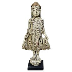 """Old Carved Wood Standing Buddha w/ Gesso Red Lacquer 17.5"""""""