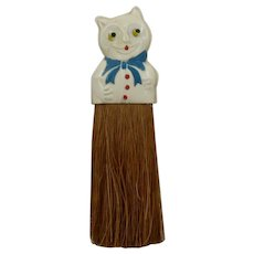1930s Celluloid Cat Handle Clothes Brush Whisk