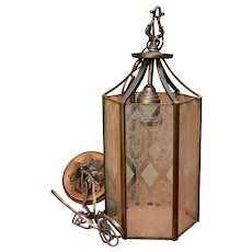 Ca 1930 Ceiling Hexagonal Lantern Light Etched Glass Brass