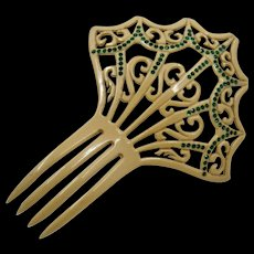 1920s Celluloid Green Paste Stones Hair Comb