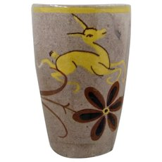 Ca 1940 Art Deco Leaping Deer Ceramic Vase