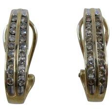 10K Double Channel-Set Earrings Hoop Post