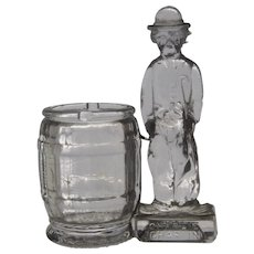 1930s Charlie Chaplin Glass Bank Toothpick Holder