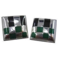 Large Square Checkered Taxco Sterling Enamel Clip Earrings Green & Black