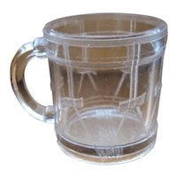 "1880s Child's Glass Cup Mug ""Drum"" Pattern"