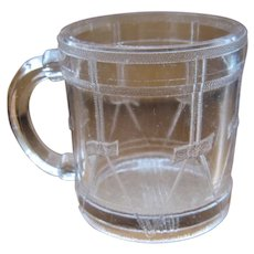"1880s Child's Glass Cup Mug ""Drum"" Pattern"