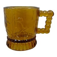 1880s Child's Cup Pointing Dog Amber Glass