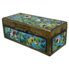 Chinese Brass Enamel Champleve Double Stamp Box w/ cherry Blossoms
