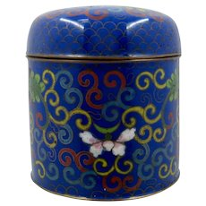 Chinese Enamel Cloisonne Canister Box w/ Butterflies