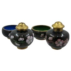 Chinese Cloisonne Enamel Salt Dishes Pepper Shakers 2 Sets