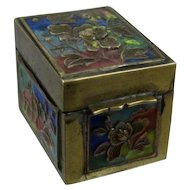 Chinese Brass Enamel Champleve Stamp Box w/ Peonies Ca 1930s