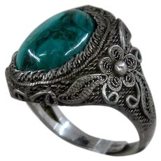 Chinese Export Silver Filigree Chrysocolla Ring Adjustable