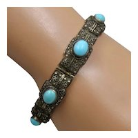 Chinese Silver Turquoise Cabochons Filigree Bracelet Ca 1930s Sz 7 1/4