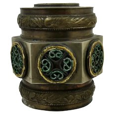 Old Chinese Brass Enamel Hexagonal Box Tea Caddy Spice Canister