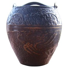 Old Chinese Bronze Bucket w/ Raised Dragon & Floral Motifs Rare Shape