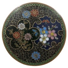 Old Chinese Cloisonne Brass Pin w/ Flowers