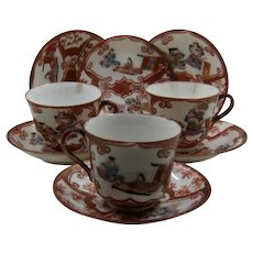 3 Sets Chinese Porcelain Painted Gilt Cups Saucers Plates Late 1800s