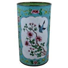 Mid 1900s Chinese Brush Pot HP Enamels on Brass