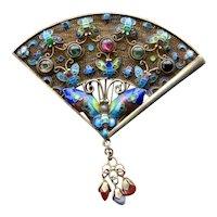 Chinese Silver Enamel Fan Pin w/ Butterflies Flowers Stones
