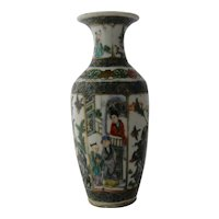 19th Century Chinese Famille Verte Vase People Birds