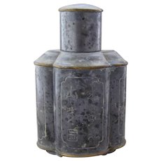 Chinese Pewter Tea Caddy Incised Calligraphy Brass Trim