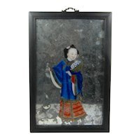 1800s Chinese Reverse Painted Woman on Glass Mirror Eglomise Framed