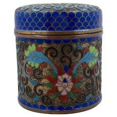 Vintage Chinese Cloisonne Enamel Round Cylindrical Box