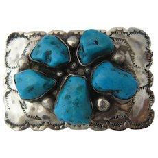 Navajo Sterling Kingman Turquoise Belt Buckle Small Size
