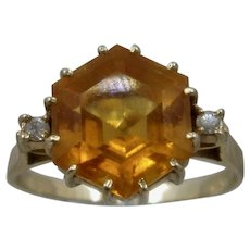 14K Hexangular Citrine w/ Diamond Accents Ring Sz 9 1/2