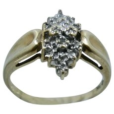 10K Diamond Marquise-Shape Cluster Ring .14 CTW Size 6