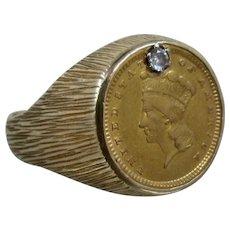 14K Ring 1857 Gold Coin Diamond Inset 1 Dollar Sz 8.5