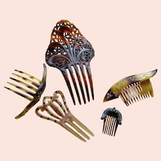 Collection 6 Vintage Celluloid Hair Combs 1920-30s
