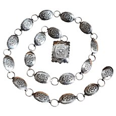 Ca 1970 Navajo Sterling Linked Conchos Belt 29""