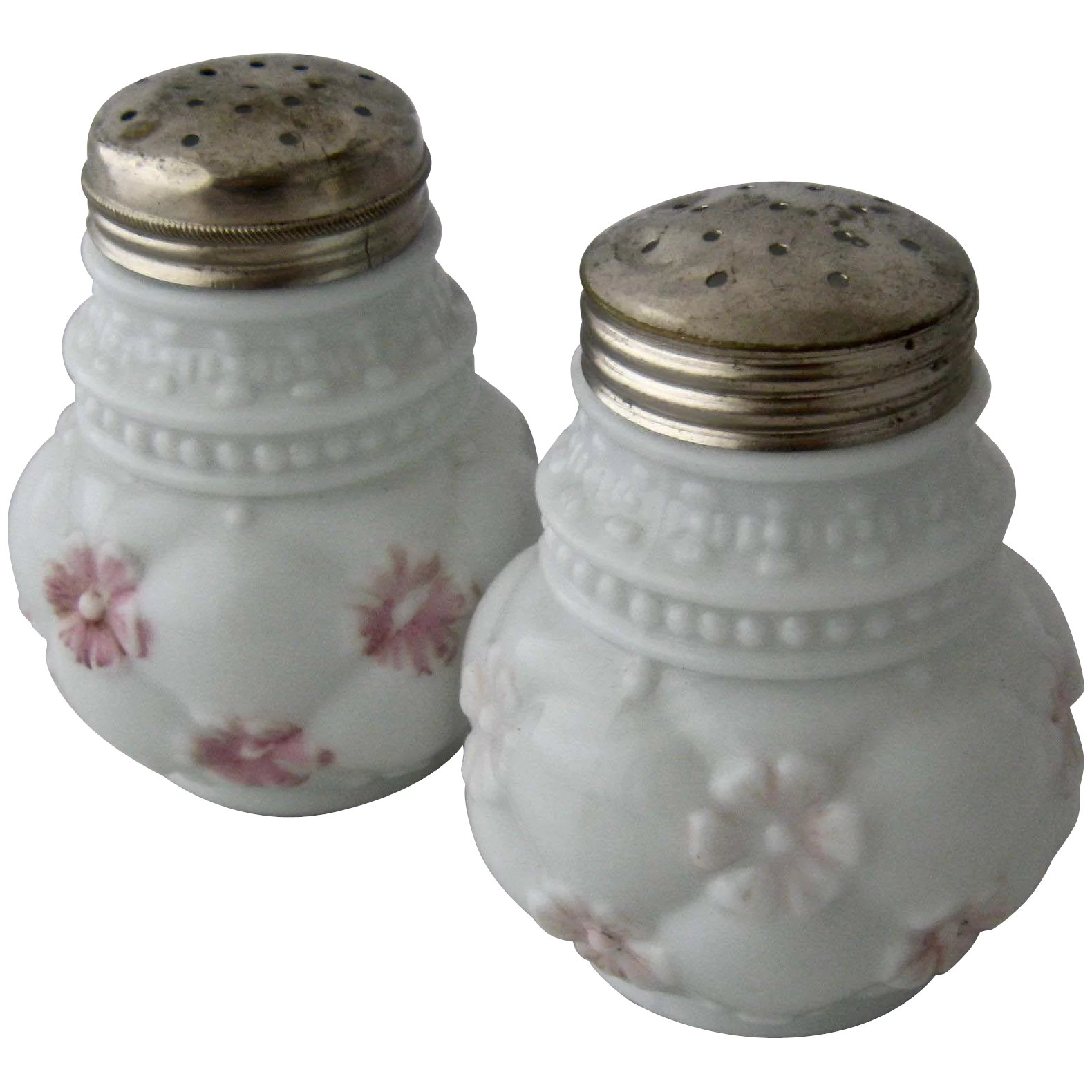 Early 1900s Consolidated Glass Painted Salt Pepper Shakers Mendocino Vintage Ruby Lane