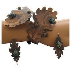 Fabulous Mid Century Copper Cuff Bracelet Earrings Leaves Scarabs