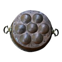 Hammered Copper Aebleskiver Egg Poaching Pan Brass Handles