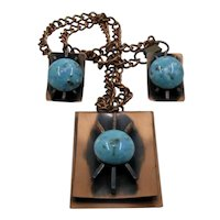 Mid Century Atomic Copper Faux Turquoise Necklace Earrings Set