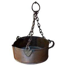 Antique Copper Kettle Pot Cauldron Hanging Chain Hook