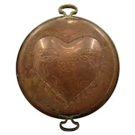 Copper Mold Pan w/ Repousse Heart Tin Lined Brass Handles