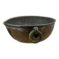 Middle Eastern Copper Pouring Bowl Brass Ring Handle Signed