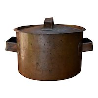 Antique Hammered Copper Stock Pot w/ Lid Dovetailed