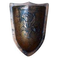 Vintage Hammered Copper Clad Wall Pocket w/ Tulip Design