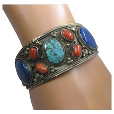 Big Tibetan Lapis Turquoise Coral Cuff Bracelet Sz 8