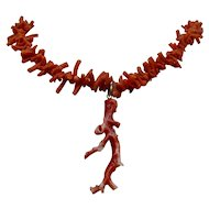 "Natural Salmon Stick Coral Necklace Branch Pendant 18"""