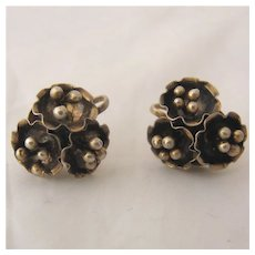 1940s Coro Sterling 3-D Flower Earrings Screw Back