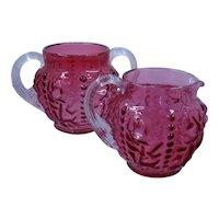Beaded Curtain Cranberry Glass Sugar Creamer L.G. Wright 1949-51
