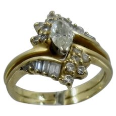 Crescent Jewelers 18K Marquise Diamond Bypass Ring Sz 6 1/2