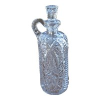 Early 1900s Crystal Whiskey Decanter Jug Unique Form Mold Blown