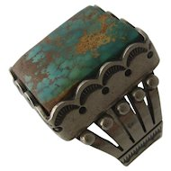 Big Navajo Hopi Sterling Turquoise Ring by Curtis Pete