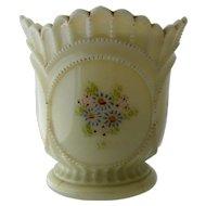 Ca 1900 Custard Glass Enameled & Gilded Spooner